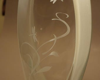 """Reclaimed Vase - Dragonfly Etching - Sold """"As-Is"""" - Lovely 11"""" vase has flaws and imperfections in the glass - Discounted"""