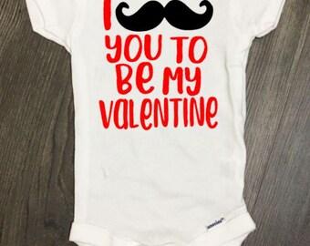 Moustache You Valentine bodysuit