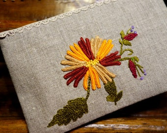 Case with autumn colors linen hand embroidered