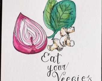 Veggies Watercolor ORIGINAL Art