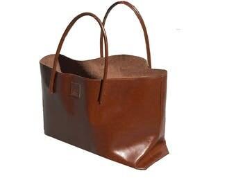 XXL Leather Shopper Cognac vintage style handmade
