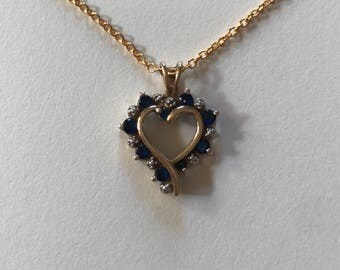 Vintage Gold-Tone 925 Sterling Silver Blue Cubic Zirconia Heart Filigree Pendant Necklace
