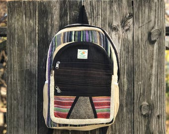 Premium Handmade Pure Hemp backpack, Padded Laptop, Himalayan Hemp