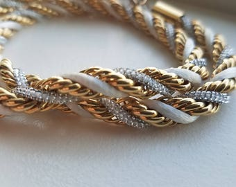 Gold Tone, Silver and White Corded Necklace