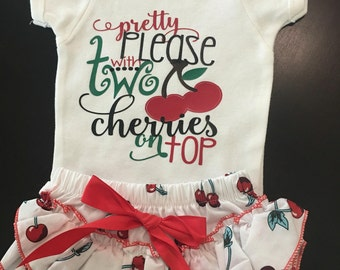 Pretty pleaae with 2 cherries on top baby bodysuit. Baby girl summer outfit