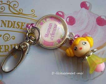 Keychain bag charm lobster glass cabochon girl kawaii chibi polymer clay doll love MOM