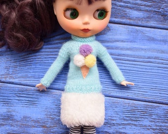 Sweater for Blythe with ice cream Blythe outfit  Blythe doll clothes Blythe jumper  Blythe light blue sweater Blythe Tiffany color