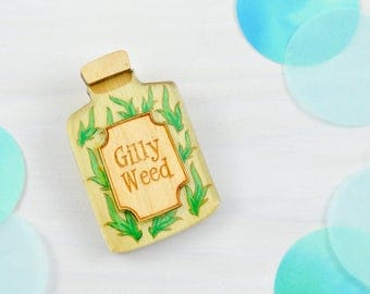 Harry Potter | Gilly Weed Potion Brooch | Lasercut Wood Acrylic Jewellery.