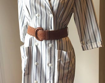 80s cream and navy striped dress