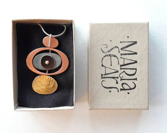 copper pendant, contemporary jewellery, necklace, handmade, abstract jewellery