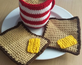 Cup of Tea and Buttered Toast, Tea Cup, Coffee Cup, Slices Buttered Toast, Hand Crocheted, Red and White Striped Cup, Play Food, Shabby Chic