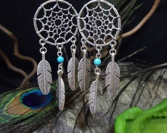 Turquoise Dreamcatcher dream catcher - turquoise - Native American - navajo - sioux - totem - Bohemian - Gypsy - hippie earrings