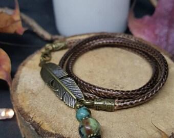 Bracelet Triple Feather - triple - cotton cord bracelet - African turquoise - nature - Bohemian - gypsy - elven