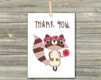 DIGITAL CARD Tnank You Cards  Printable Card Download Greeting Card Blank card For Her For Friends Instant Download Blank Raccoon