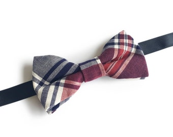 "Plaid Pre Tied Bow Tie ""Golgi"", Best Handmade Gift for Men, Weddings, Birthday, Valentines Day"