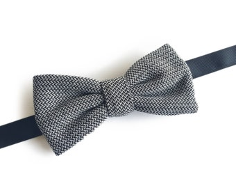 "Grey Pre Tied Bow Tie ""Rutherford"", Best Handmade Gift for Men, Weddings, Birthday, Valentines Day"