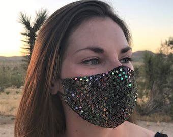 Festival Dust Mask | Sequin Adjustable Dust Mask  | Aromatherapy Rave Rainbow Sparkle Music Festival Burning Man Playa Ninja Face Mask