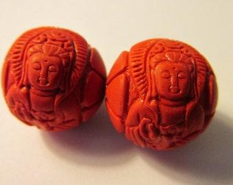 """Kwan Yin Chinese Red Cinnabar Round Bead,  3/4"""", Set of 2"""