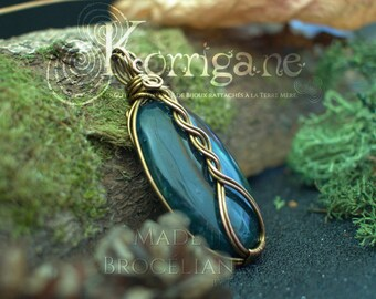 Celtic Entrelacs pendant Moss Agate - Wire Wrapping - Copper Wire Wrapping Gemstone