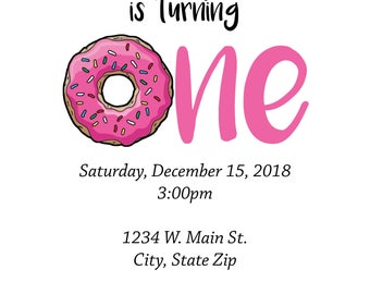 DIGITAL* Donut Birthday Party Invitation