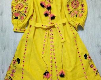 Vyshyvanka Linen Ukraine Embroidered dress Bohemian Style Ukrainian Embroidery Mexican Dress Kaftan Abaya Free Shipping.