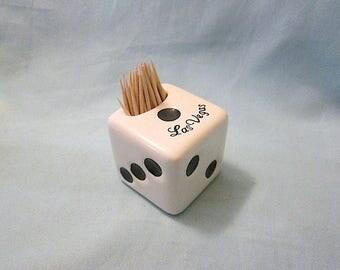 Ceramic Souvenir Las Vegas Dice Toothpick Holder - 1960s