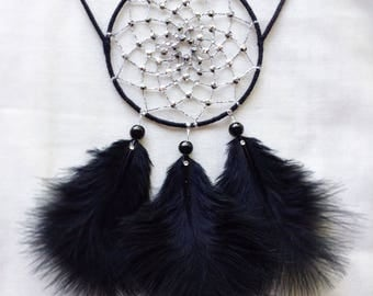"3"", Black, Cat Dreamcatcher, Silver, Small Dreamcatcher, Black Cat, jewellery, Dreamcatcher, Cat Ears, Wedding Decoration, Christmas Gift"