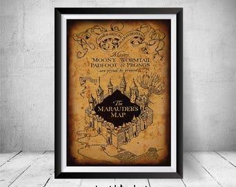 Marauders Map, Marauder's Map, Harry Potter Print, Harry Potter Wall Art Decor, Marauder's Map Print, Marauders Map, Harry Potter Gift, Art