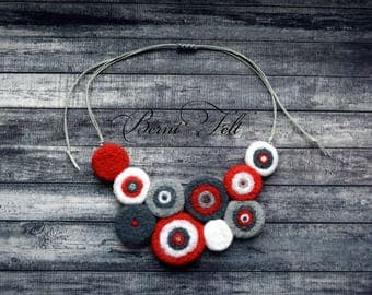 Design Necklace Felt Necklace  Wool Jewelry Red and Gray Wool Necklace Winter Jewelry Winter gift for wife