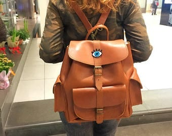 Women Backpack Purse, Leather Rucksack, Student Backpack, Made in Greece from Full Grain Leather, LARGE.