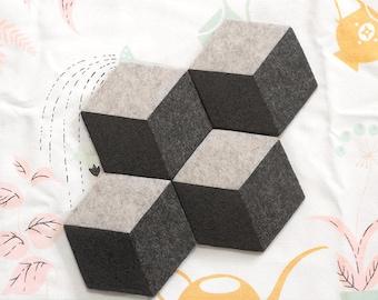 MOD ILLUSION Felt Coasters (Set of 4) – Cork Base, Felt Tile Pattern Felt Tableware, Modern Minimalist Design, Hex Coasters, Felt Homewares