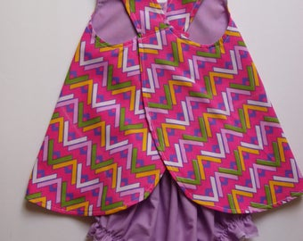 Baby Sundress, Pinafore, Zigzag, Beach Dress, Bloomers, Diaper Cover, Reversible, size 12 month
