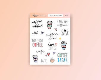 Coffee Addict Stickers / planner stickers, coffee stickers, word stickers, hand drawn stickers, fun stickers, cafe au lait, latte / WD3