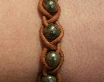 0302-Leather Braided Labradorite Bracelet