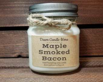 8oz Maple Smoked Bacon Soy Candles - Boyfriend Gift - Man Candle - Bacon Lover - Valentine's Day Gift - Soy Candles Handmade - Homemade