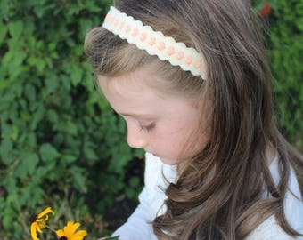 Merino Wool Felt Headband - Soft White with Pink Hearts / Embroidered Headband / Girl's Fashion / Hair Accessories / Mommy and Me
