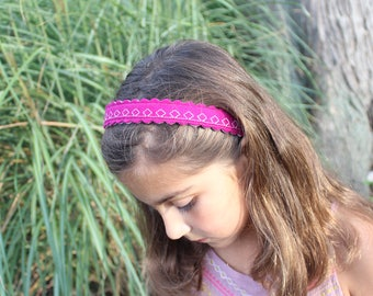 Merino Wool Felt Headband - Cranberry / Embroidered Headband / Girl's Fashion / Hair Accessories / Mommy and Me