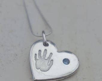 Baby handprint necklace