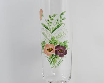 "Antique Moser Style Hand Painted Flower Vase Artist Signed ""Lebrun"""