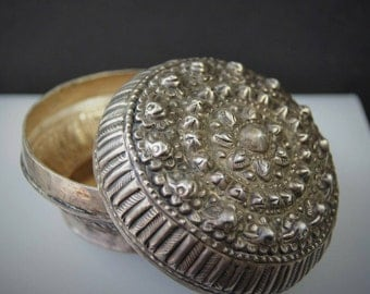 Old High Grade Silver Betel Nut Box  from Laos
