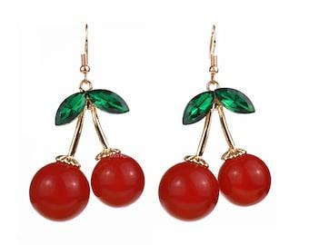 Large Cherry Earrings with Gold & Green Acrylic Rhinestones, Rockabilly Fruit Earrings, Carmen Miranda and Pinup, Retro Burlesque Kitsch