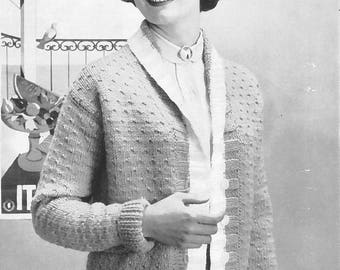 Vintage Women's Button-Up Jacket Seed Stitch Variation Knitting Pattern PDF 1954