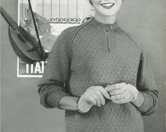 Vintage Women's Sweater Seed Stitch Variation Knitting Pattern PDF 1954