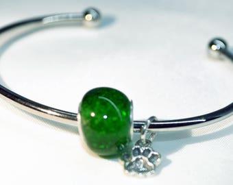 Always in My Heart Memorial Bead w/Cuff Bracelet