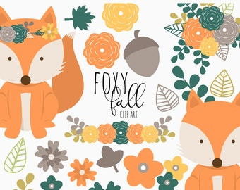 50% Off Sale! Foxy Fall Clip Art