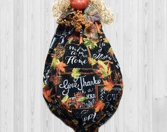 Fall kitchen decor, fall decor, kitchen decor, grocery bag holder, harvest decor, shopping bag holder, country home decor, give thanks