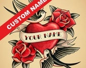 "Custom Heart name tattoo print, Personalized Old School Tattoo print, 8""x10"""