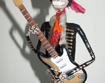 Jimi Hendrix, Catrina, Day of the dead, sculpture, skeleton, hand made, paper mache, figure, mexican art, Skull, fan art