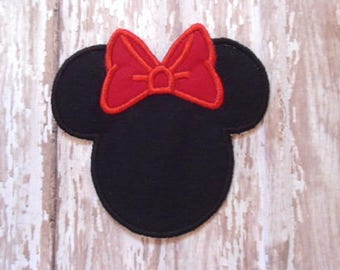 Minnie Mouse Applique - Red Bow - Embroidered Applique - Iron On - Ready To Ship