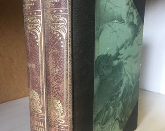 Darwin's Origin of Species. Antique limited edition, leather binding, marbled paper, two-volume set of science books. Over a century old!